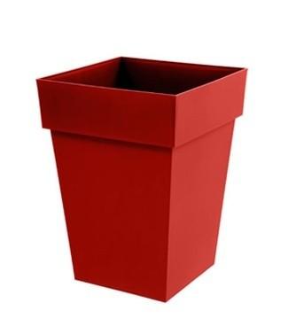Pot mi-haut carré Toscane Rouge rubis L 39 x l 39 x h 53 51 litres (l)