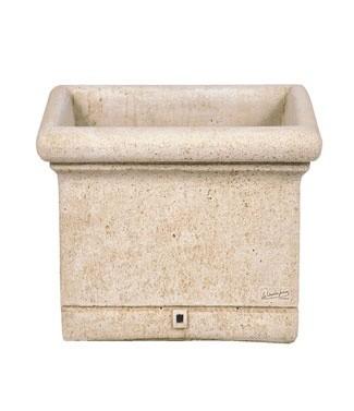 Jardinière carrée en pierre lisse L 44 x l 44 x h 35 25 litres (l) 37 kg