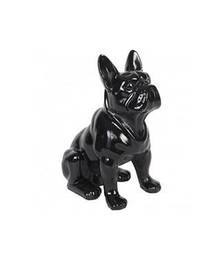 Bulldog assis noir Noir h 40