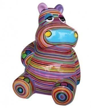 Hippopotame assis rayé h 50