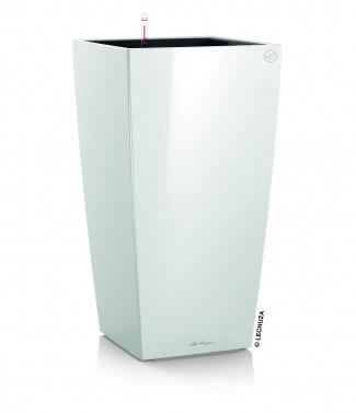 Pot d'intérieur Cubico avec kit complet Blanc brillant L 22 x l 22 x h 41 6 litres (l)
