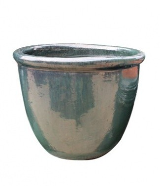 Pot glazed Bleu turquoise h 30 x Ø 40