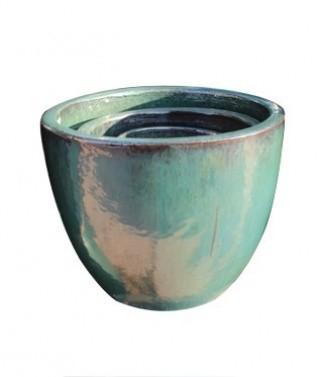 Pot Egg glazed Bleu turquoise h 33 x Ø 41